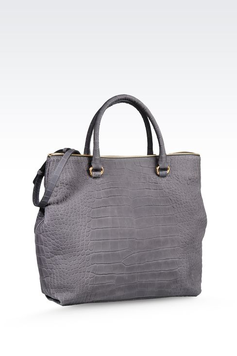LEATHER TOTE BAG WITH CROC PRINT: Shoppers Women by Armani - 2