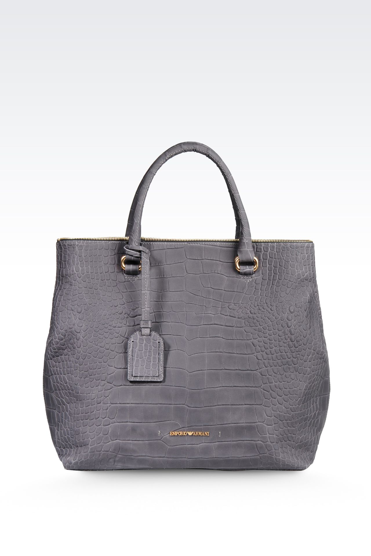 LEATHER TOTE BAG WITH CROC PRINT: Shoppers Women by Armani - 0