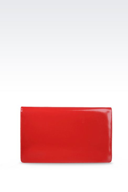PATENT CLUTCH WITH JEWELLED SHOULDER STRAP: Clutches Women by Armani - 1