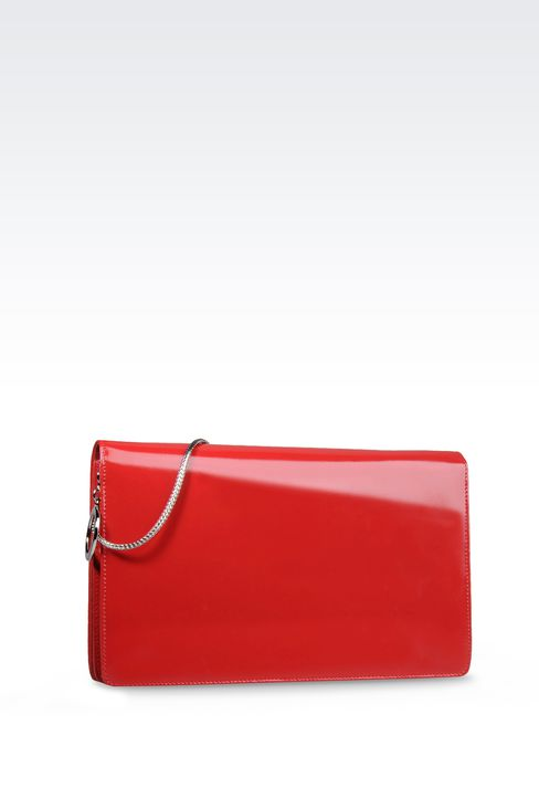 PATENT CLUTCH WITH JEWELLED SHOULDER STRAP: Clutches Women by Armani - 2