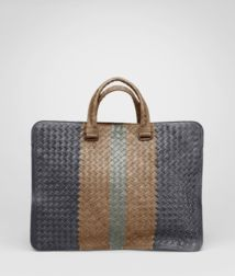 BOTTEGA VENETA - Briefcases, Ardoise Bronze Frontiere Intrecciato Club Fume Briefcase