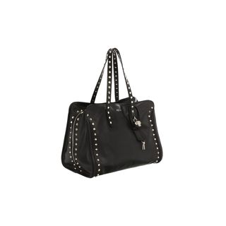 ALEXANDER MCQUEEN, Tote, Stud Lined Skull Padlock Top Handle Bag