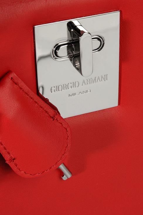 SMALL HANDBAG IN CALFSKIN LEATHER : Top handles Women by Armani - 4