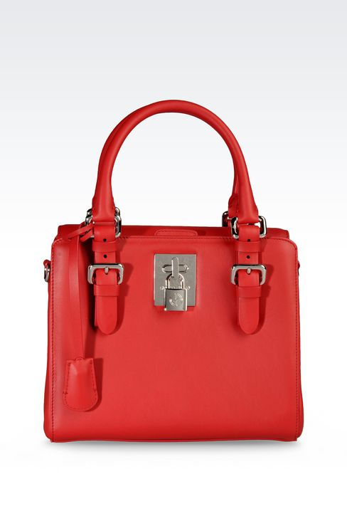 SMALL HANDBAG IN CALFSKIN LEATHER : Top handles Women by Armani - 1
