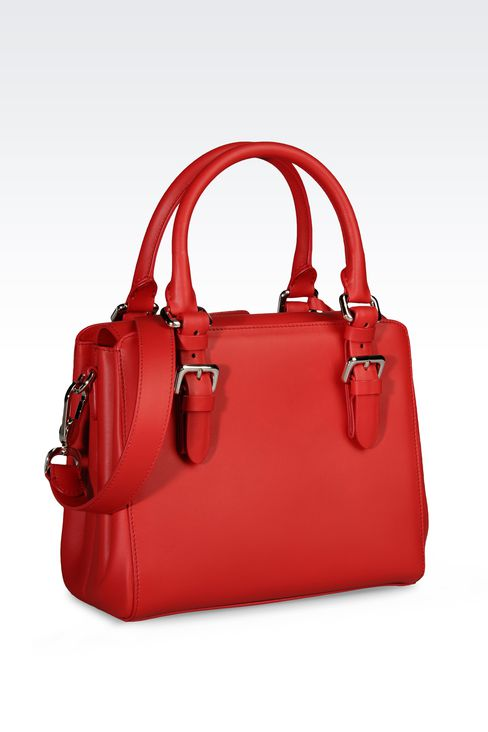 SMALL HANDBAG IN CALFSKIN LEATHER : Top handles Women by Armani - 2