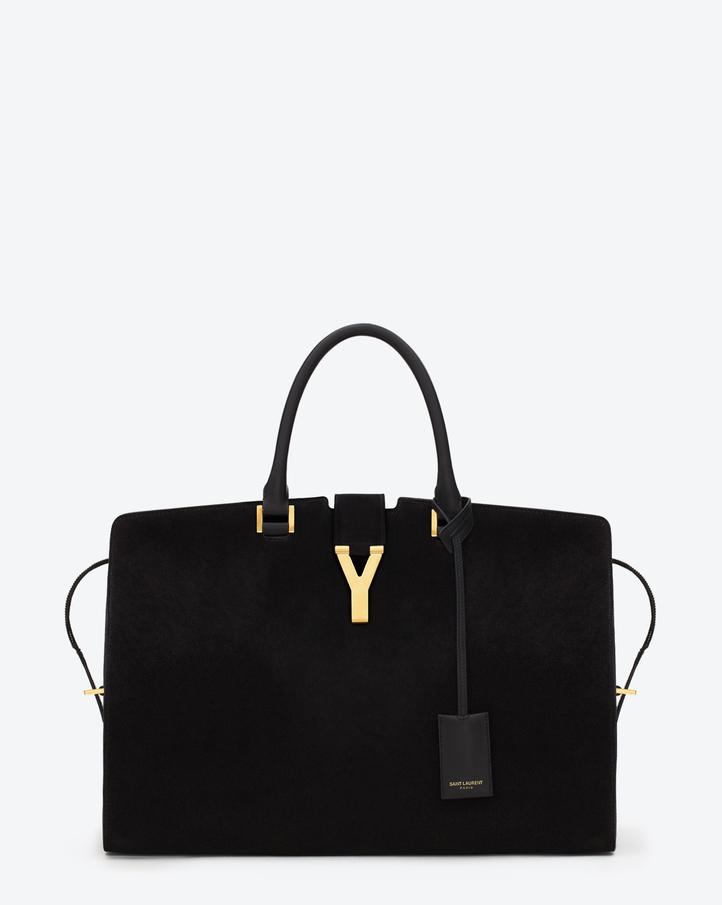 Saint Laurent Classic Large Y Cabas Bag In Black Suede | YSL.com