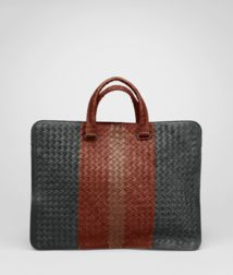 BOTTEGA VENETA - Briefcases, Ardoise Brique Watteau Intrecciato Club Fume Briefcase