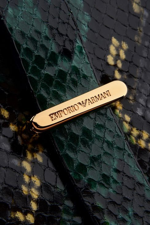 LEATHER CLUTCH WITH REPTILE PRINT: Clutches Women by Armani - 4