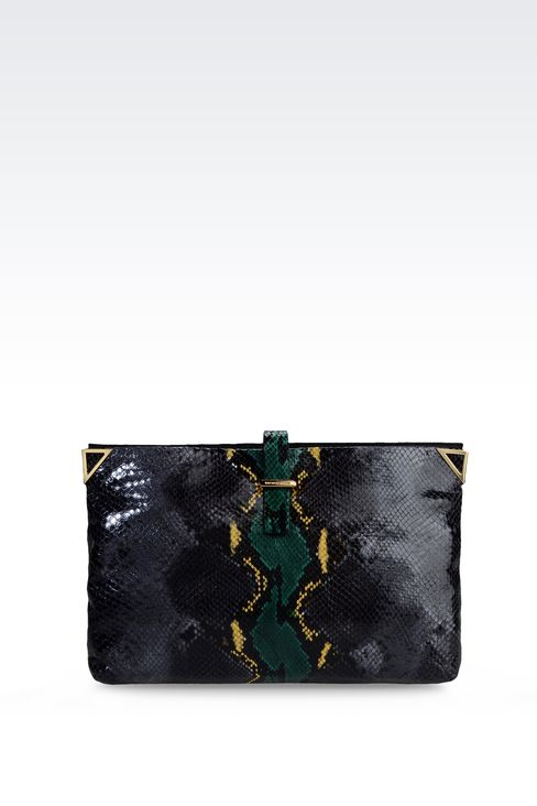 LEATHER CLUTCH WITH REPTILE PRINT: Clutches Women by Armani - 1