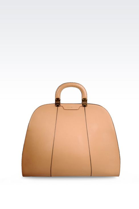 HANDBAG IN SMOOTH CALFSKIN WITH INNER POUCH: Top handles Women by Armani - 1