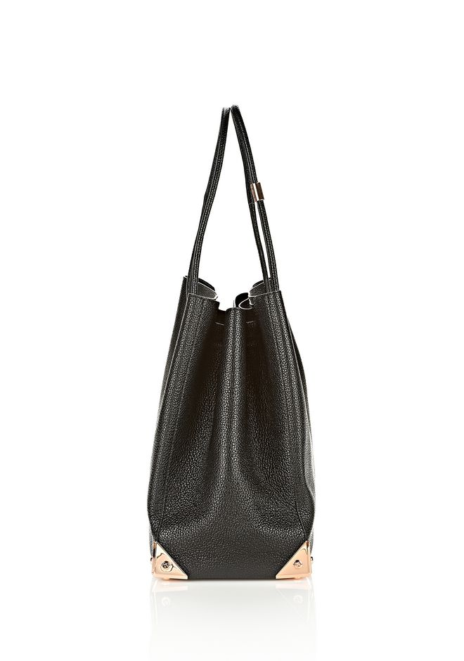 ALEXANDER WANG PRISMA LARGE TOTE IN PEBBLED BLACK WITH ROSE GOLD TOTE Adult 12_n_a