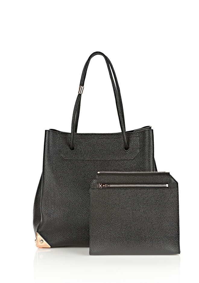 ALEXANDER WANG PRISMA LARGE TOTE IN PEBBLED BLACK WITH ROSE GOLD TOTE Adult 12_n_d