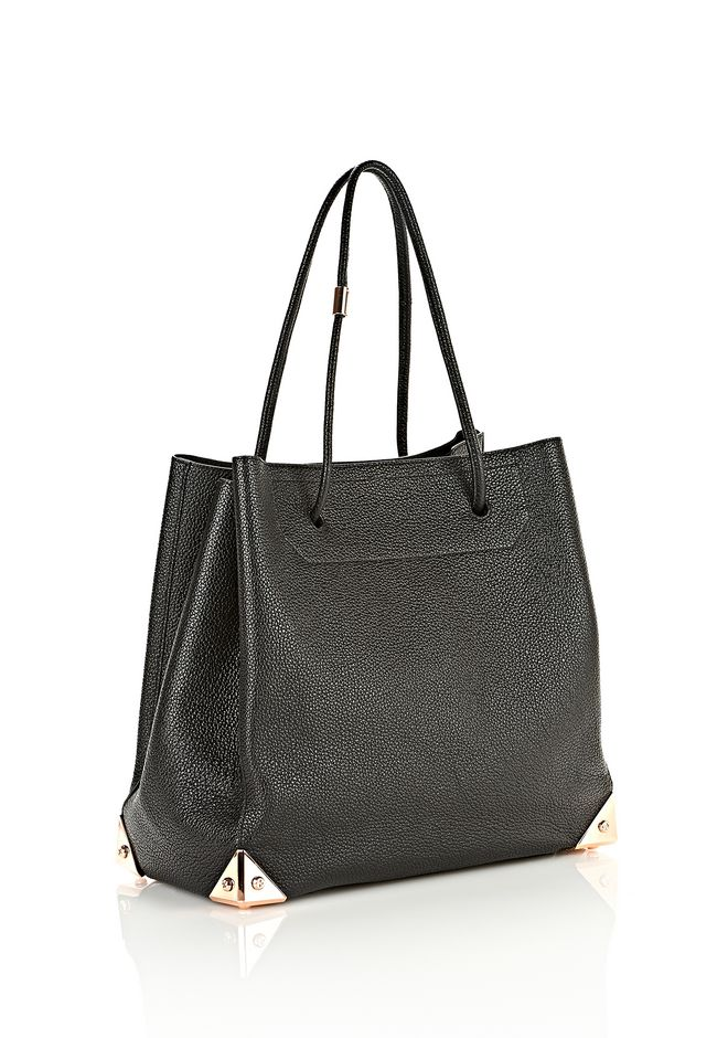 ALEXANDER WANG PRISMA LARGE TOTE IN PEBBLED BLACK WITH ROSE GOLD TOTE Adult 12_n_e