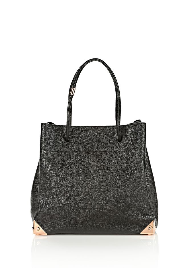 ALEXANDER WANG PRISMA LARGE TOTE IN PEBBLED BLACK WITH ROSE GOLD TOTE Adult 12_n_f