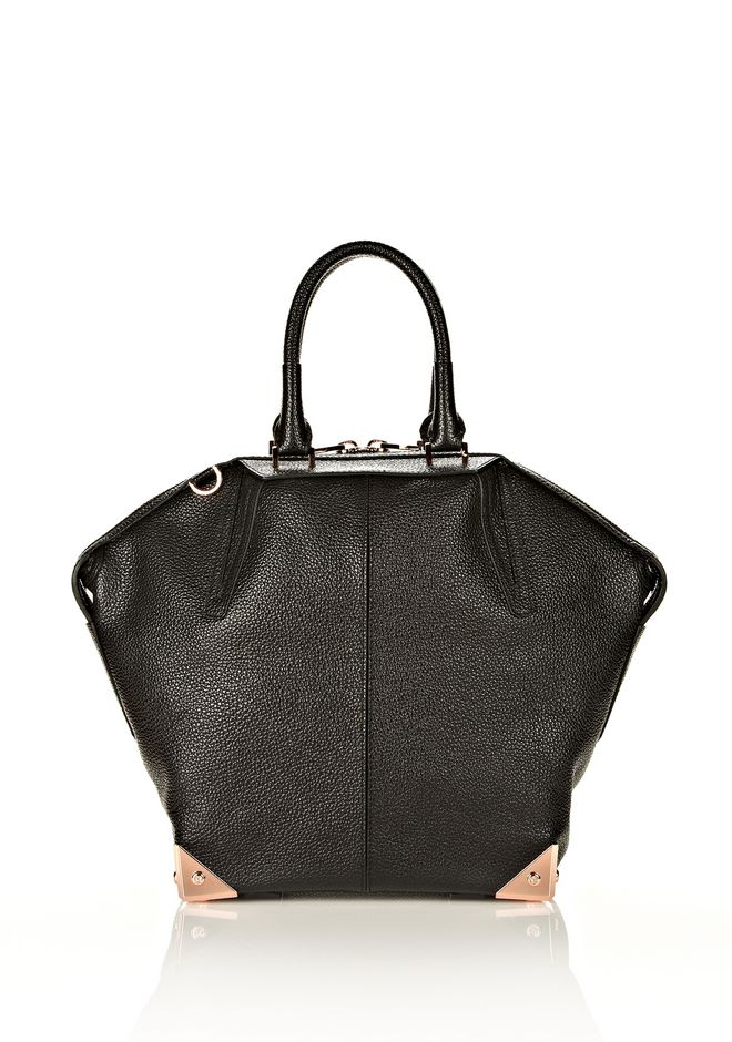 ALEXANDER WANG LARGE EMILE IN PEBBLED BLACK WITH ROSE GOLD  TOTE Adult 12_n_d