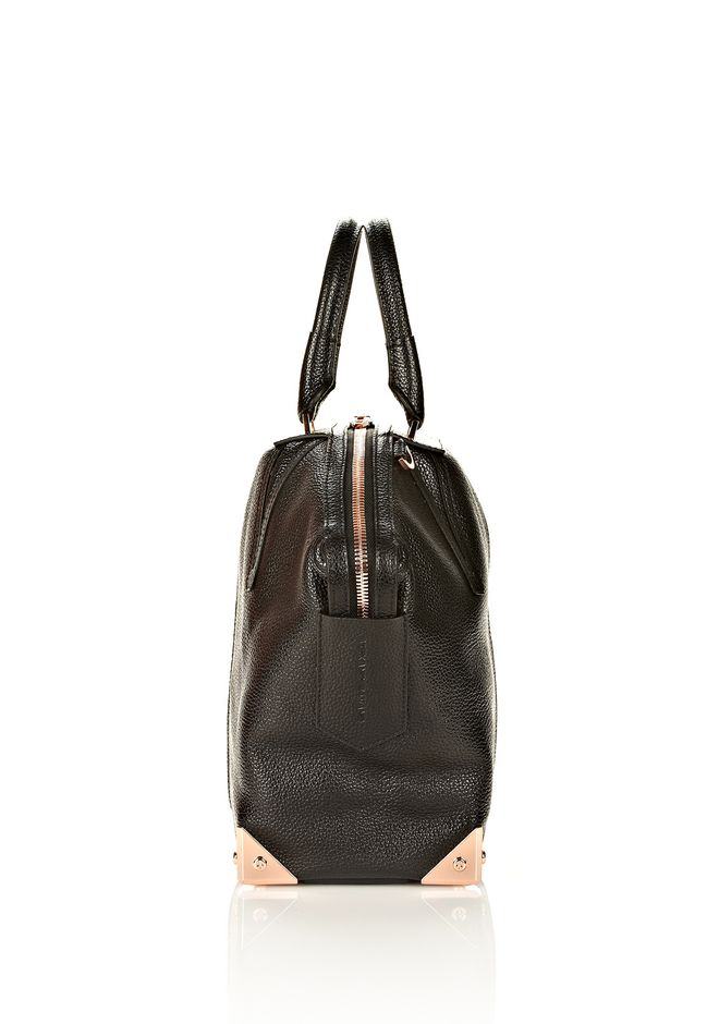 ALEXANDER WANG LARGE EMILE IN PEBBLED BLACK WITH ROSE GOLD  TOTE Adult 12_n_e