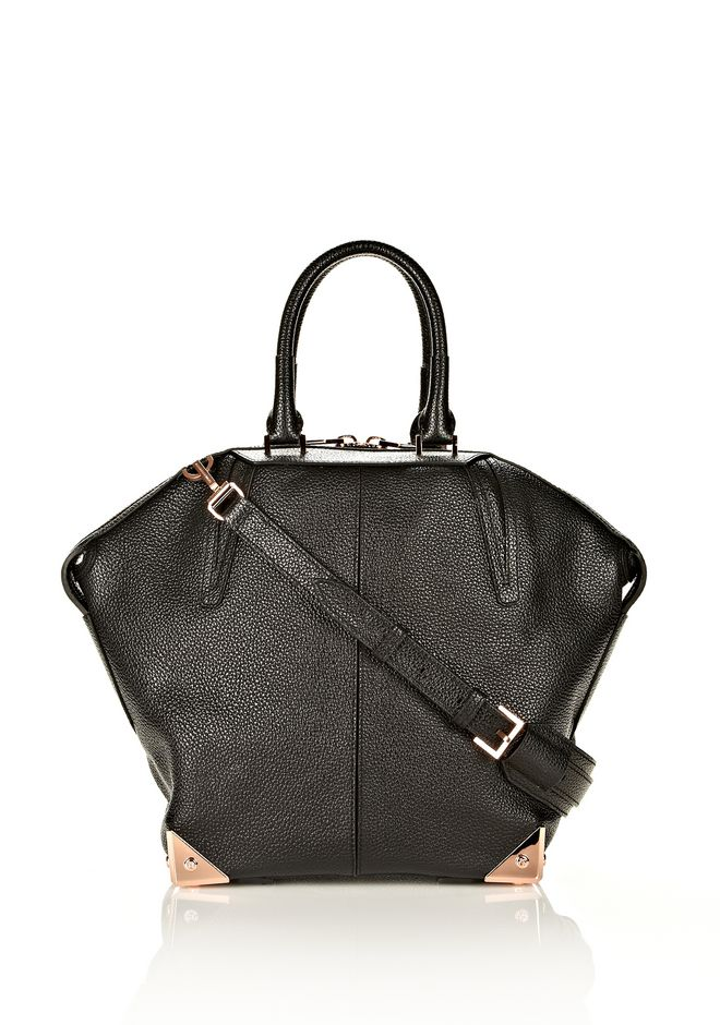 ALEXANDER WANG LARGE EMILE IN PEBBLED BLACK WITH ROSE GOLD  TOTE Adult 12_n_f