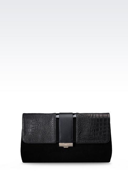SUEDE CLUTCH WITH CROC PRINT: Clutches Women by Armani - 1