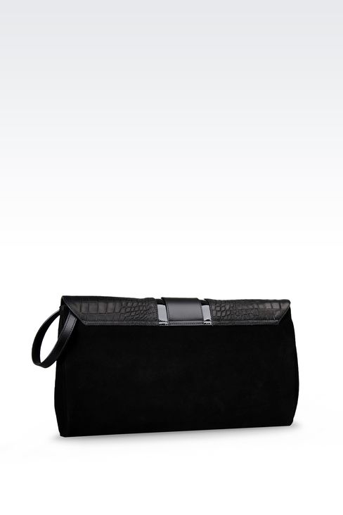SUEDE CLUTCH WITH CROC PRINT: Clutches Women by Armani - 2