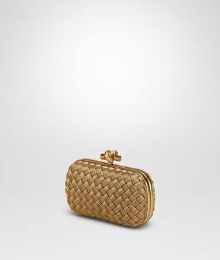 KNOT CLUTCH AUS INTRECCIO IN ORO BRUCIATO