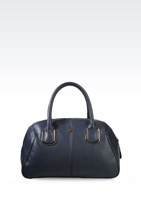 ECO LEATHER BARREL BAG WITH LOGO: Top handles Women by Armani - 1