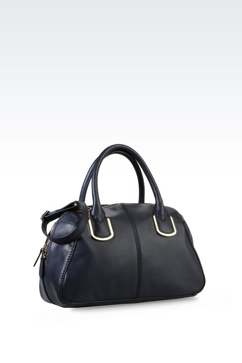 ECO LEATHER BARREL BAG WITH LOGO: Top handles Women by Armani - 2