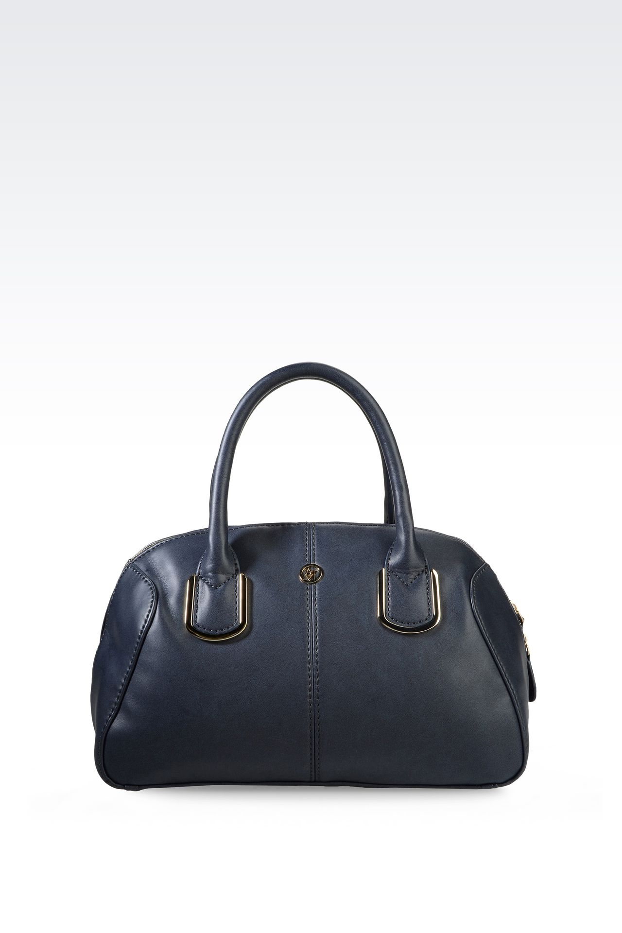 ECO LEATHER BARREL BAG WITH LOGO: Top handles Women by Armani - 0