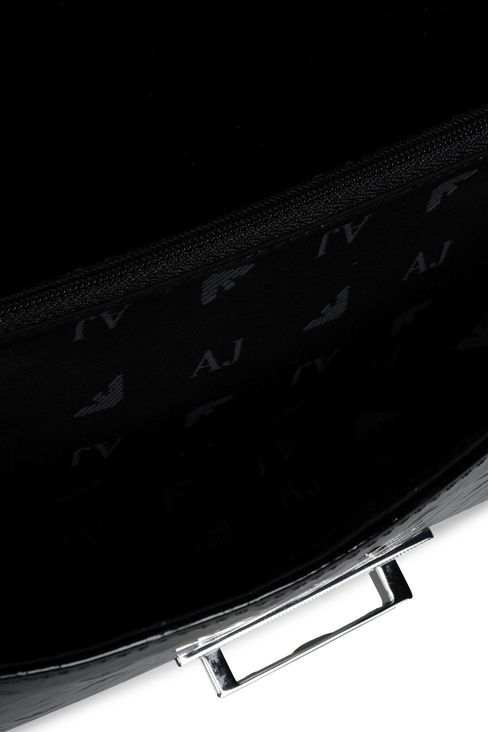 ALL OVER LOGO PATENT LEATHER CLUTCH BAG: Clutches Women by Armani - 3