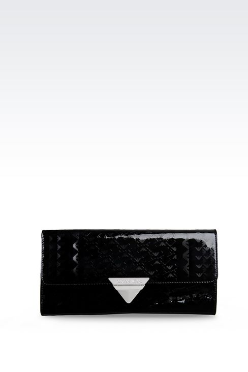 ALL OVER LOGO PATENT LEATHER CLUTCH BAG: Clutches Women by Armani - 1