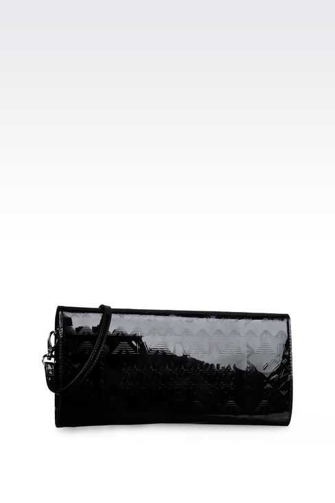ALL OVER LOGO PATENT LEATHER CLUTCH BAG: Clutches Women by Armani - 2
