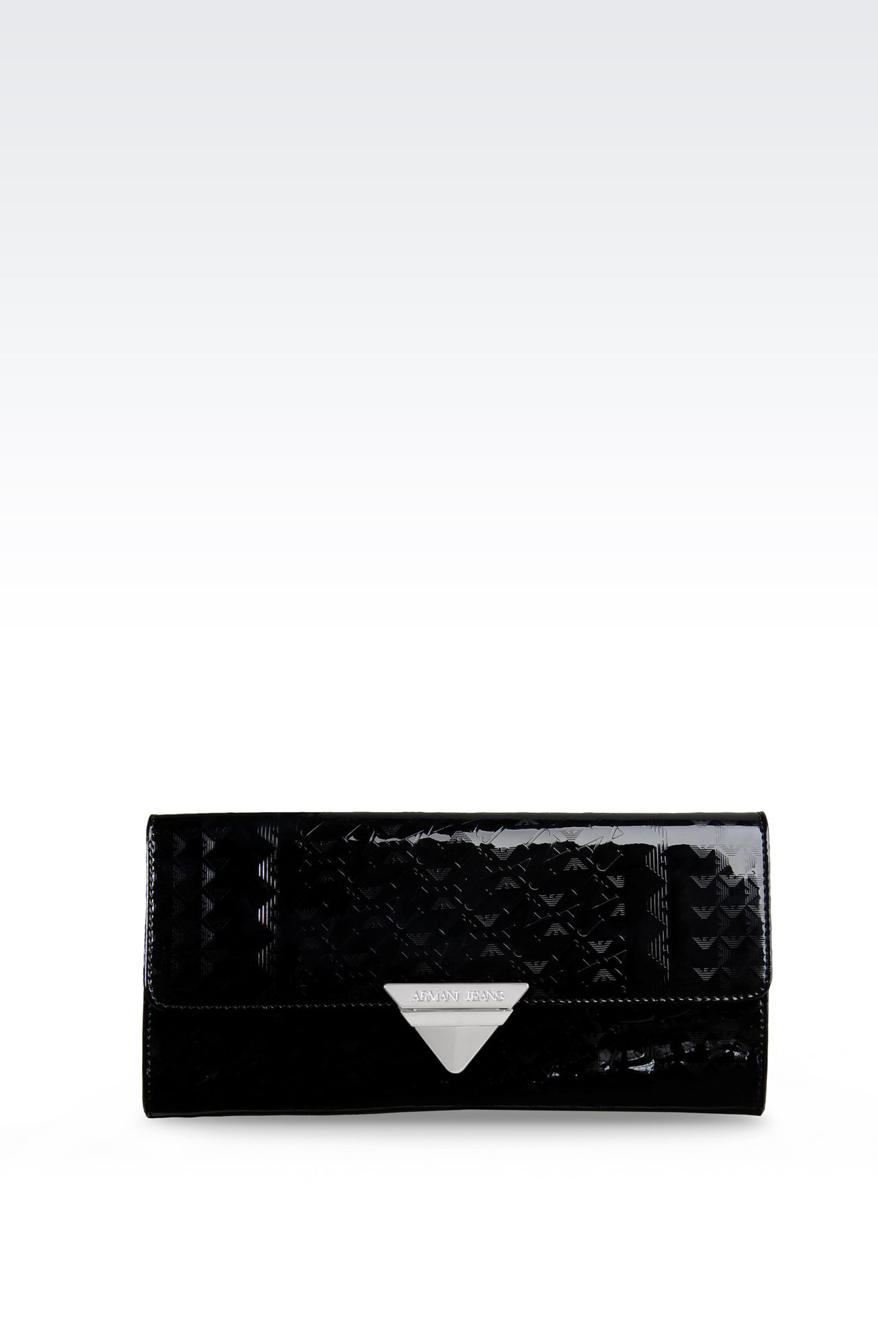 ALL OVER LOGO PATENT LEATHER CLUTCH BAG: Clutches Women by Armani - 0