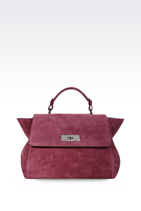 TOTE BAG IN CALFSKIN AND VELOR: Top handles Women by Armani - 1