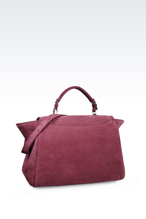 TOTE BAG IN CALFSKIN AND VELOR: Top handles Women by Armani - 2