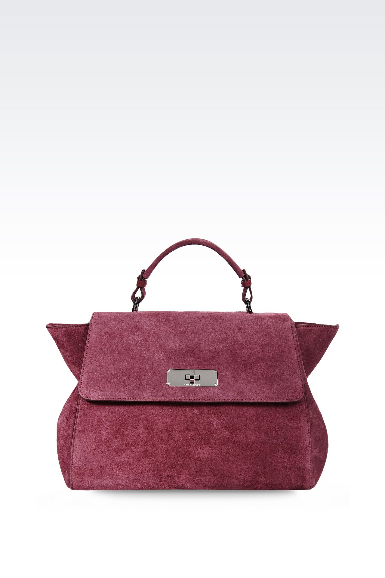TOTE BAG IN CALFSKIN AND VELOR: Top handles Women by Armani - 0