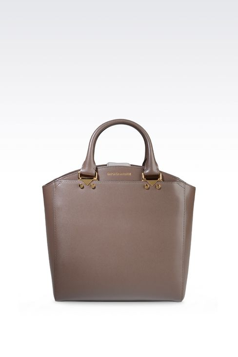 SMALL TOTE BAG IN BOARDED LEATHER: Shoppers Women by Armani - 1