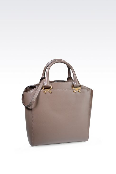 SMALL TOTE BAG IN BOARDED LEATHER: Shoppers Women by Armani - 2