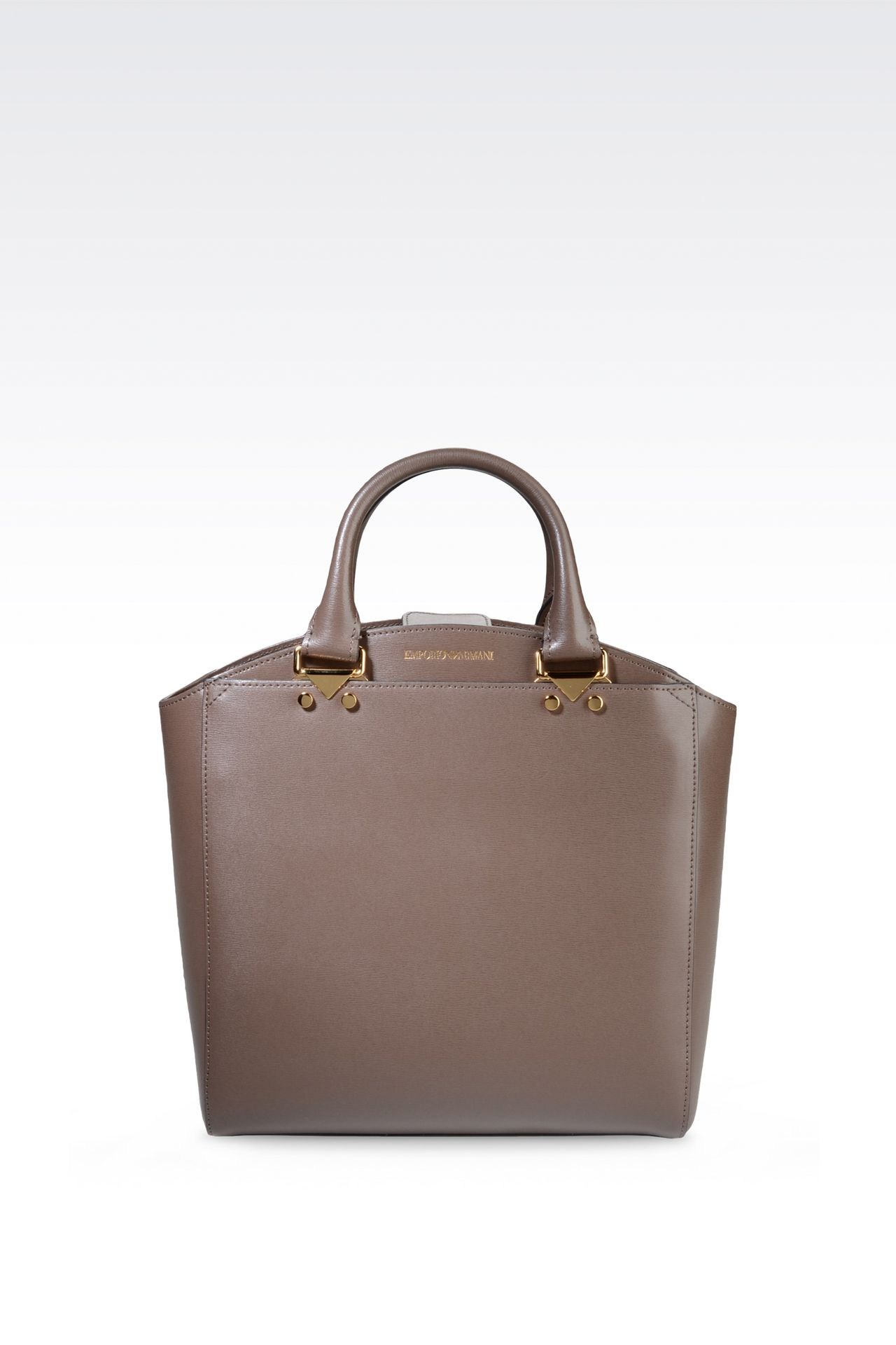 SMALL TOTE BAG IN BOARDED LEATHER: Shoppers Women by Armani - 0
