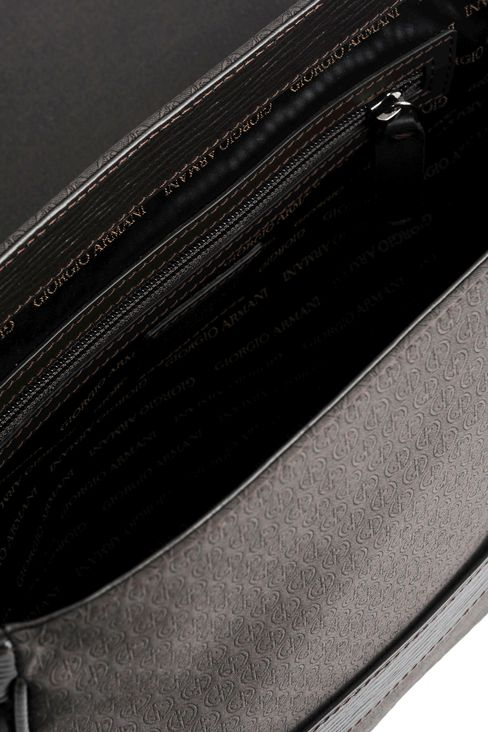 MESSENGER BAG IN LOGOED FABRIC WITH LEATHER DETAILING: Messenger bags Men by Armani - 3