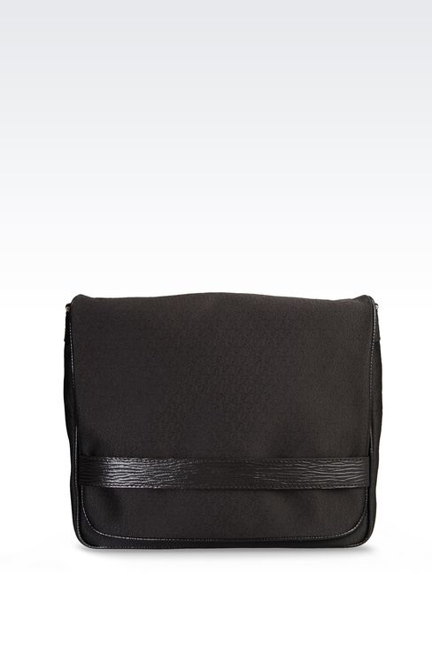 MESSENGER BAG IN LOGOED FABRIC WITH LEATHER DETAILING: Messenger bags Men by Armani - 1