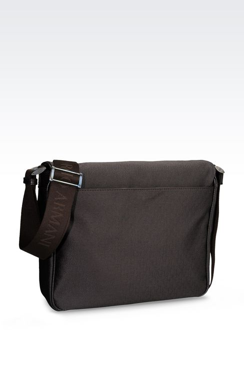MESSENGER BAG IN LOGOED FABRIC WITH LEATHER DETAILING: Messenger bags Men by Armani - 2