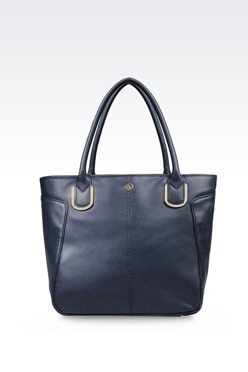 ECO LEATHER SHOPPING BAG WITH LOGO: Shoulder bags Women by Armani - 1