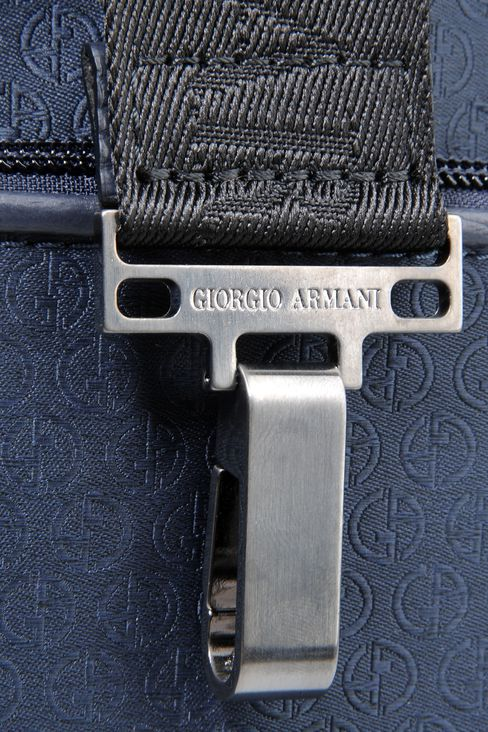 SMALL SHOULDER BAG IN LOGOED TECHNICAL FABRIC: Messenger bags Men by Armani - 4