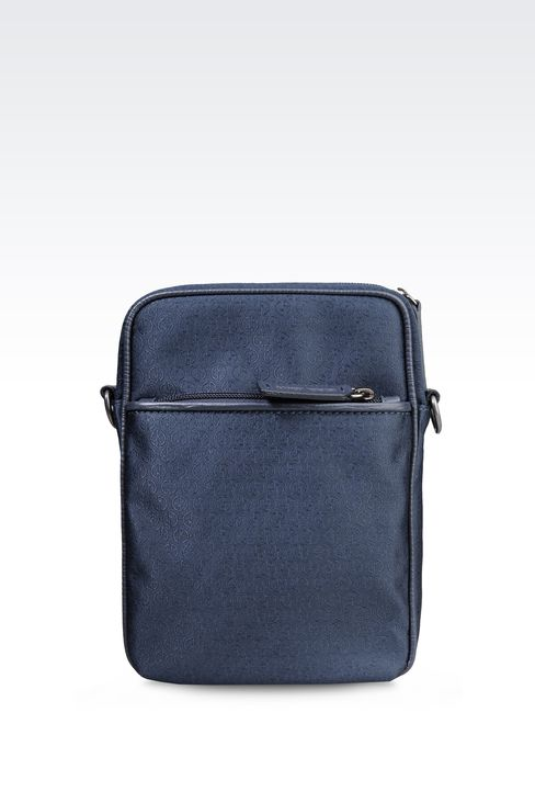 SMALL SHOULDER BAG IN LOGOED TECHNICAL FABRIC: Messenger bags Men by Armani - 1