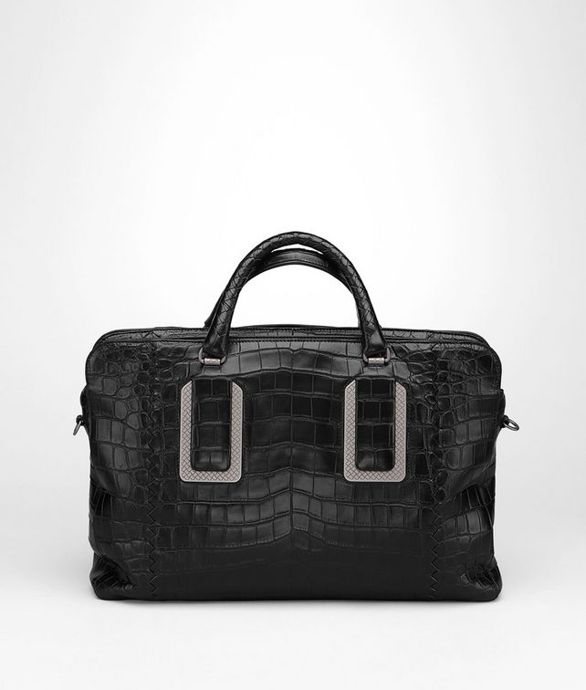 BRIEFCASE IN NERO CROCODILE