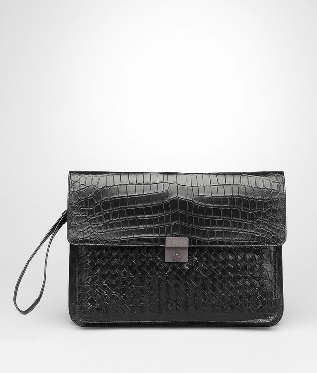 Nero Intrecciato Soft Crocodile Document Case