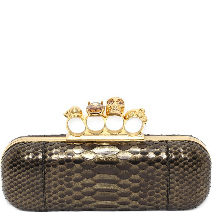 Alexander McQueen, Knucklebox Clutch in Pitone Metallic