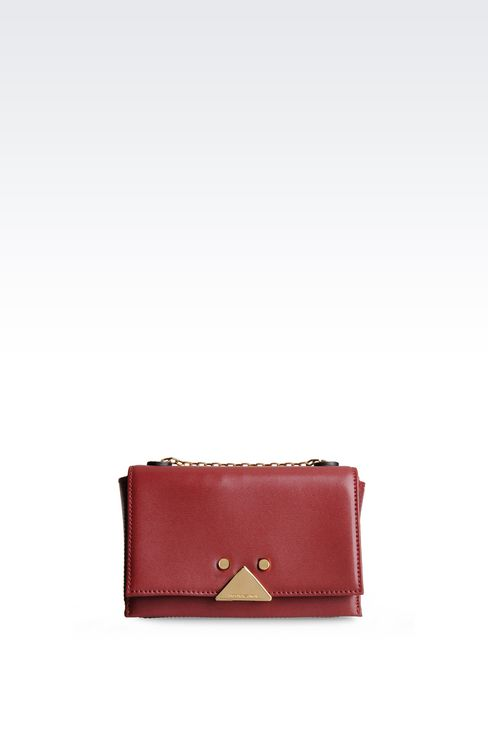 SMALL BAG IN BOARDED CALFSKIN WITH CHAIN SHOULDER STRAP: Shoulder bags Women by Armani - 1