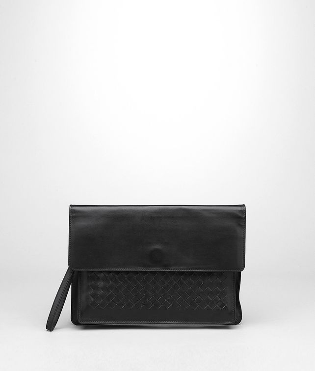 BOTTEGA VENETA DOCUMENT CASE IN NERO CALF, INTRECCIATO DETAILS Small bag U fp