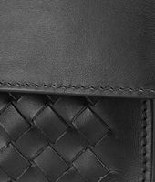 SMALL DOCUMENT CASE IN NERO CALF WITH INTRECCIATO DETAILS