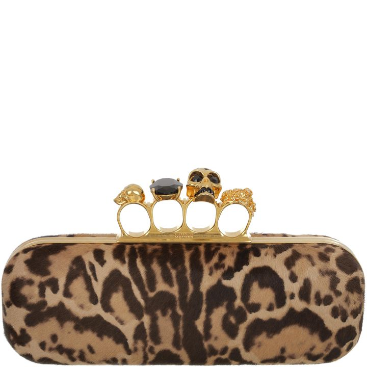 Alexander McQueen, Knucklebox Clutch in Pony Leopardo